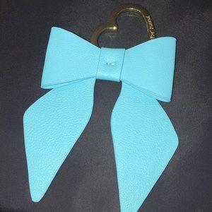 Betsey Johnson large blue bow purse fob